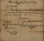 Robert Livingston to Messrs Livingston and Alexander for Elisha Sheldon, August 21, 1755 by Robert Livingston