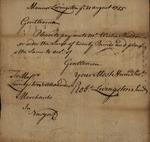 Robert Livingston to  Messrs Livingston and Alexander for Elisha Sheldon